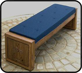 Custom Engraved Wood Narthex Benches with a custom fabric cushion